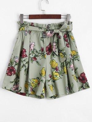Pantalones Cortos Con Cintura Alta Floral Smocked - Floral L