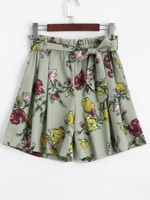 Smocked Floral High Waisted Shorts - Floral S
