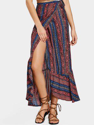 Tribal Ruffles Wrap Maxi Skirt