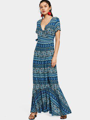 Printed Flounces Wrap Maxi Dress - Blue