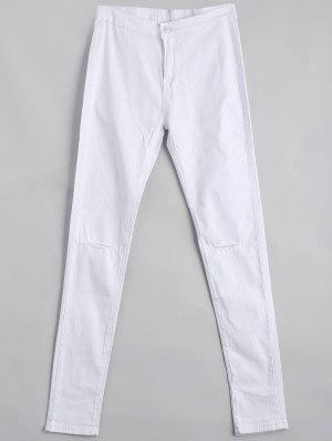 Ripped High Waist Pants - White 2xl