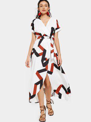 Belted Geometric Surplice Maxi Dress - White 2xl
