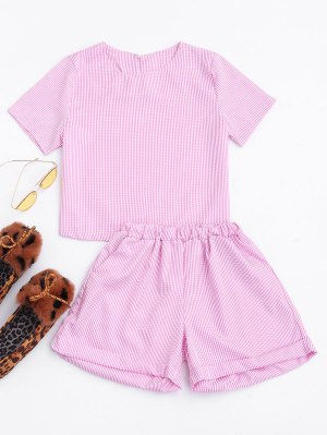 Keyhole Checked Top And Rolled Cuff Casual Shorts - Checked L
