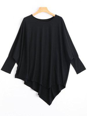Dolman Manga Camiseta Asimétrica - Negro