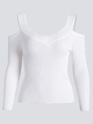 Camiseta De Punto Acanalada Con Hombros Fríos - Blanco