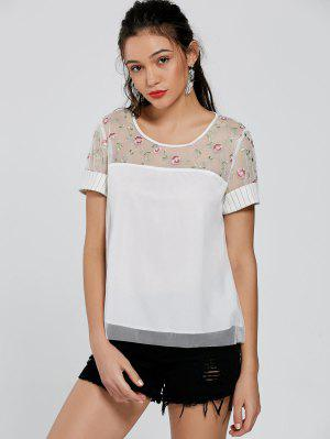 Embroidery Open Back Striped Blouse - White S