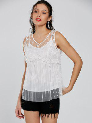 Frill Tulle Sheer V Neck Top - White S