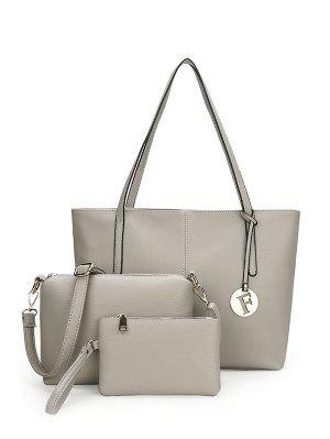 3 Pieces Stitching Faux Leather Shoulder Bag Set - Gray