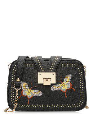 Studded Embroidery Chain Crossbody Bag