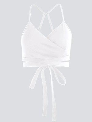 Active Padded Wrap Yoga Top - White M