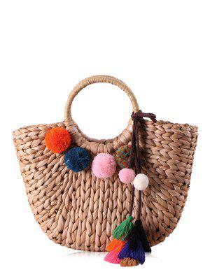 Stroh Pom Pom Quasten Handtasche