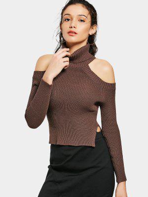 Side Slit Cold Shoulder Turtleneck Sweater - Brown M