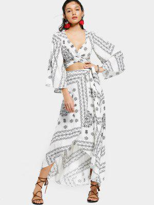 Crossover Cut Out Top And Wrap Asymmetrical Skirt - White And Black Xl