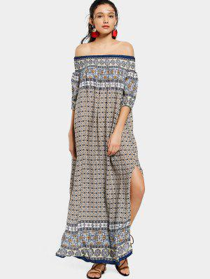 Printed Slit Off Shoulder Maxi Dress - Purplish Blue