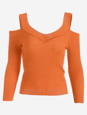 Camiseta De Punto Acanalada Con Hombros Fríos - Naranja - Naranja