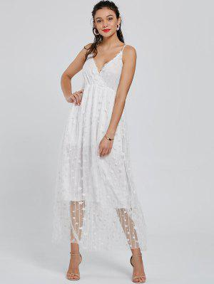 Allover Star Maxi Flowing Vestido De Resbalón - Blanco Xl