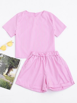 Keyhole Plaid Top And Rolled Cuff Casual Shorts - Checked - Checked S