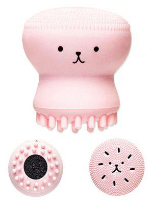 Cartoon Octopus Double Head Silicone Facial Cleansing Brush - Pink