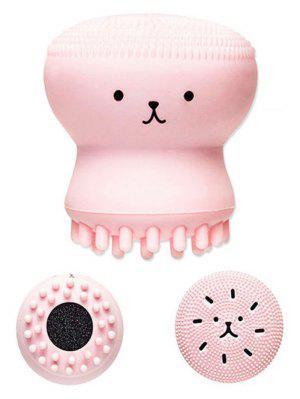 Brosse De Toilette Facial à Double Tête En Pinceau Cartoon Octopus - Rose PÂle