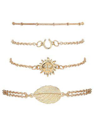 Sun Leaf Bracelets Suit - Golden