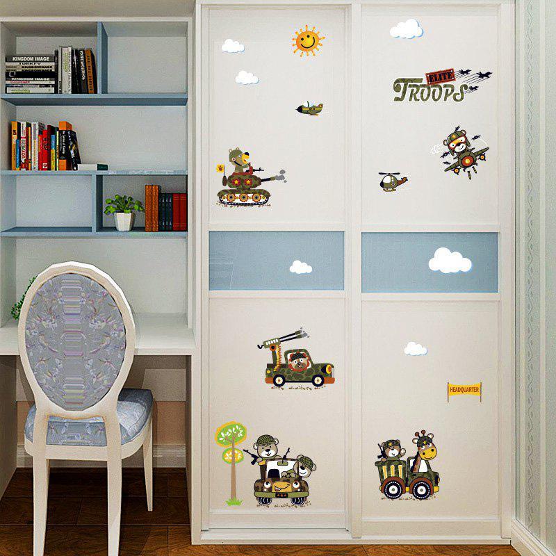 Cartoon Animal Troops Wall Art Sticker For Kids Room 222535901