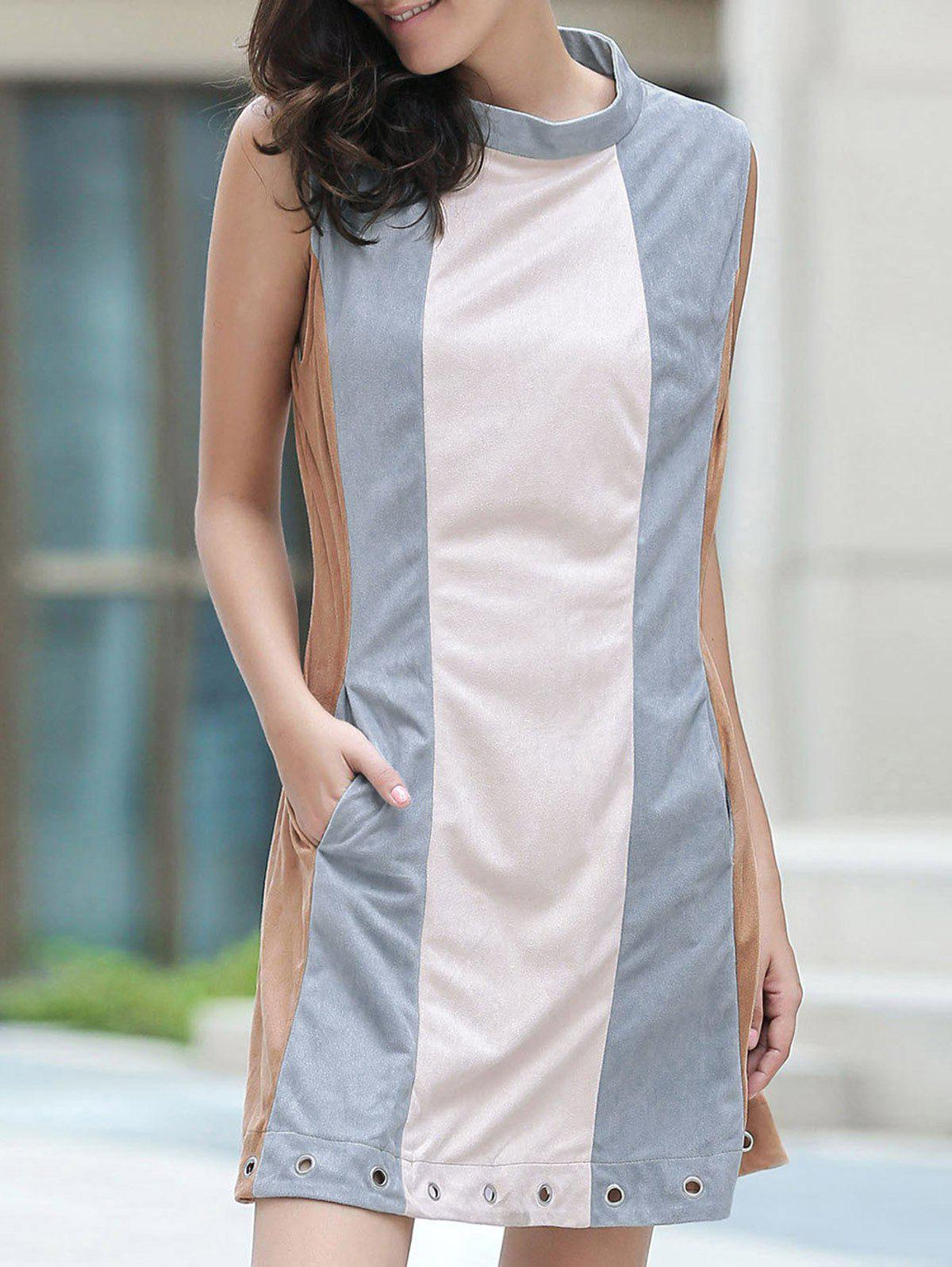 Cut Out Hit Color Round Neck Sleeveless Dress 175016404