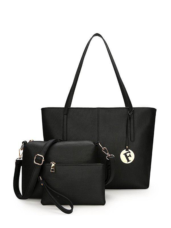 3 Pieces Stitching Faux Leather Shoulder Bag Set