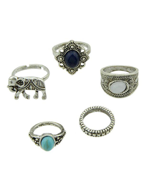 5 pièces Bohemia Elephant Rings