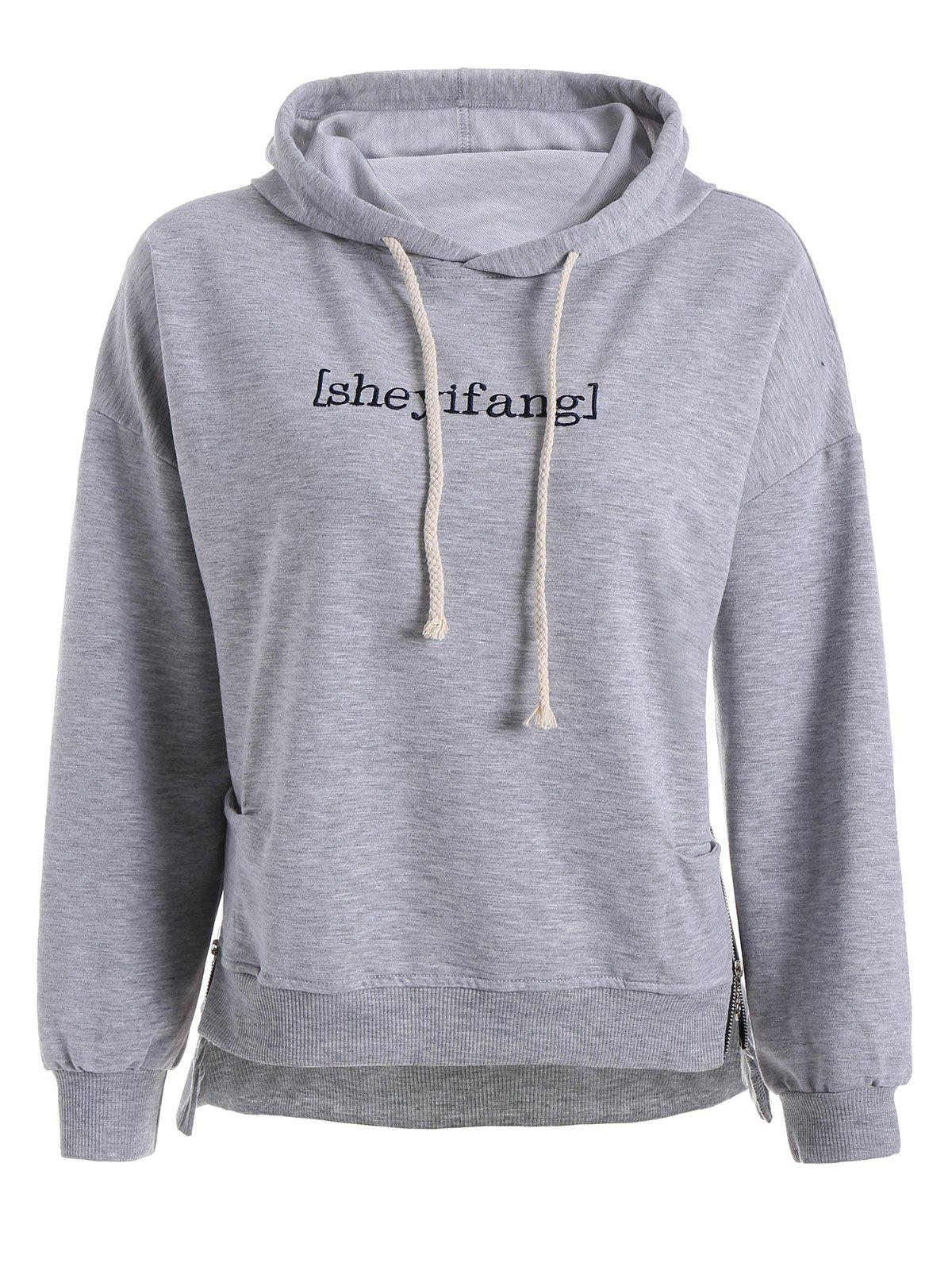 Plus Size Drop Shoulder High Low Embroidered Hoodie 222359305