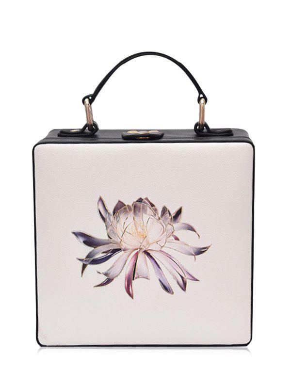 Floral Print Box Shaped Crossbody Bag