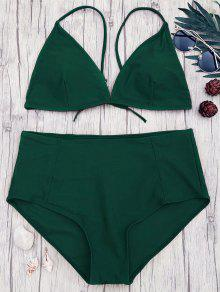 High Waisted Plus Size Bikini Set - Green 3xl