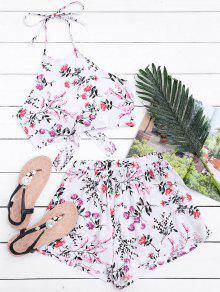 Halter Floral Crop Top With Shorts - White M