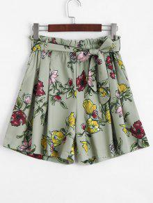 Smocked Floral High Waisted Shorts - Floral L