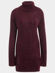 Side Slit Turtleneck Cable Knit Sweater - Wine Red