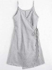 Cami Striped Wrap Dress - Gray S