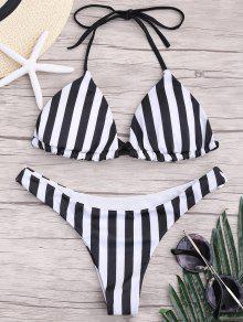 Juego De Bikini Con Cordones - Blanco Y Negro S