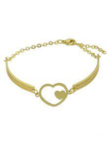 Double Heart Alloy Bracelet - Golden