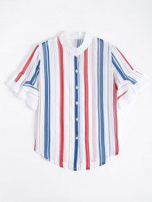 Stripes Ruffled Sleeve Button Down Shirt - Stripe M