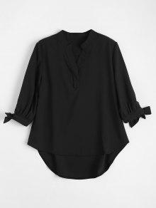 Bow Tied Sleeve High Low Blouse - Black S