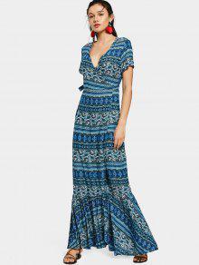 فستان ماكسي لف كشكش طباعة - أزرق