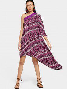 فستان ميدي غير متماثل بكتف واحد طباعة - أرجواني L