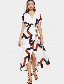 Belted Geometric Surplice Maxi Dress - White S