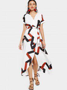 فستان مربوط هندسي كهنوتي ماكسي - أبيض 2xl