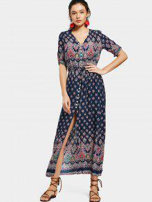 مطبوعة الشق زر حتى فستان ماكسي - الأرجواني الأزرق Xl