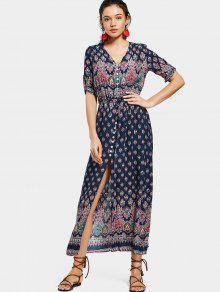 مطبوعة الشق زر حتى فستان ماكسي - الأرجواني الأزرق 2xl