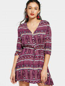 Printed Belted Half Buttoned Mini Dress - Purple M