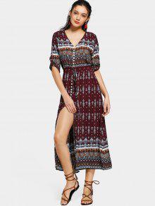 فستان زر انقسام طباعة قبلية ماكسي - M