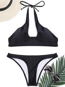 Cut Out Banded Halter Bikini Set - Black M