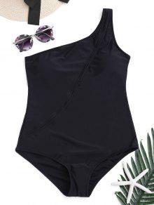 واحد كتف قطعة واحدة ملابس السباحة - أسود S