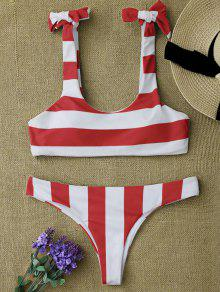 Striped Tie Shoulder Scoop Bikini Set - Red And White S